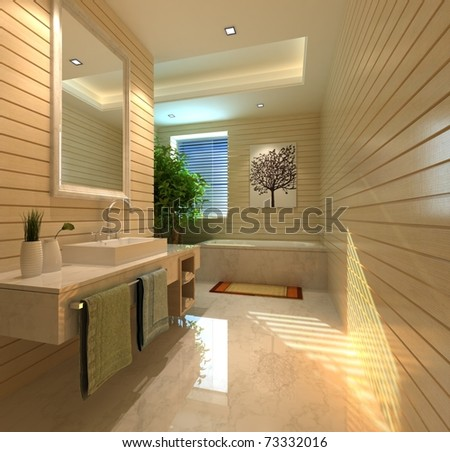 rendering of the modern bathroom interior - stock photo