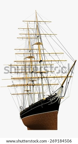 """Rendering of the XIX Century British Clipper """"Cutty Sark"""" - Fast ship mainly used within England and Australia as a freighter for Tea and Cotton. Vessel presently located in London - Greenwich. - stock photo"""