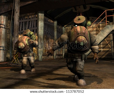 Rendering Steampunk Researchers in protective suit - stock photo