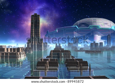 Rendor Near A Space Station 01, fantasy alien planet, modern city scape with a space station in the background - stock photo