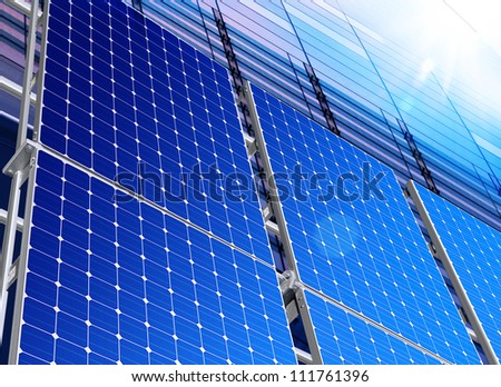 Renewable, alternative solar energy, sun-power plant - stock photo