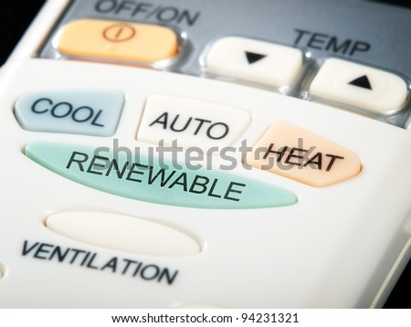 Renewable button as an option on the air conditioner remote control... - stock photo