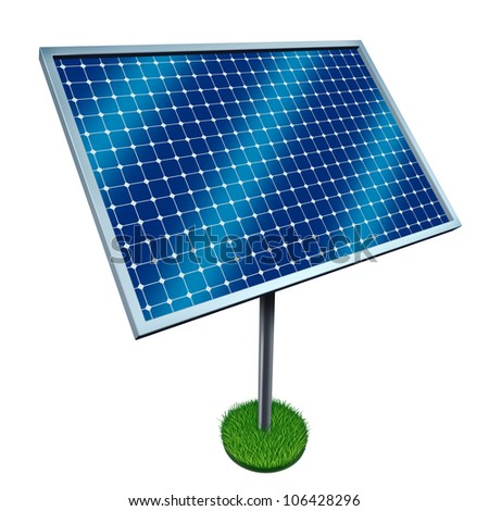 Renewable energy and solar panels on a white background as a symbol of cost effective green fuel from harnessing the heat and light power from the sun.