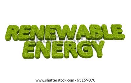 Renewable energy grass illustration - stock photo