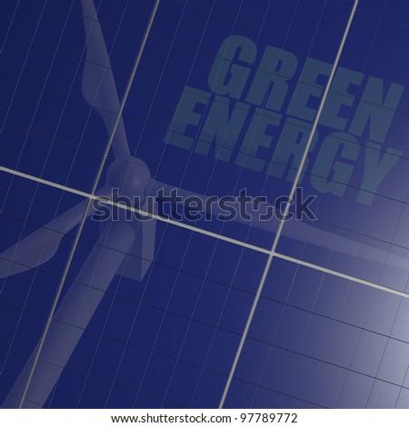 Renewable energy image with solar panel and wind turbine reflection - stock photo