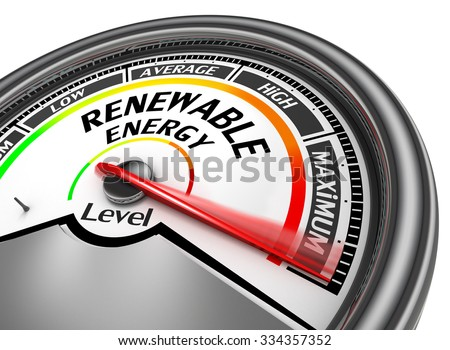 Renewable energy to maximum level modern conceptual meter, isolated on white background - stock photo