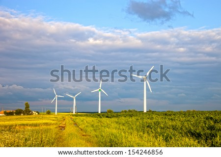 Renewable Energy Wind Power Windmill Turbines. - stock photo