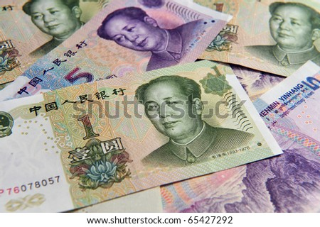 Renminbi, China Chinese money - one and five Yuan bank notes.  Concept photo of money, banking ,currency and foreign exchange rates.