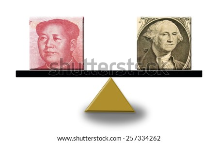 Renminbi versus US dollar on a scale, concept of foreign exchange or balance of trade - stock photo