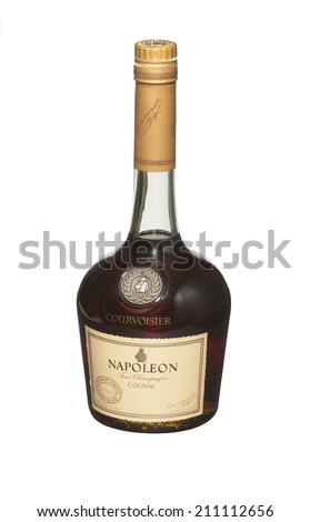 RENO, NEVADA - AUGUST 14, 2014: A bottle of Courvoisier Napoleon cognac. A luxury brand of French cognac personally selected by Napoleon Bonaparte for his troops during the Napoleonic Wars.  - stock photo