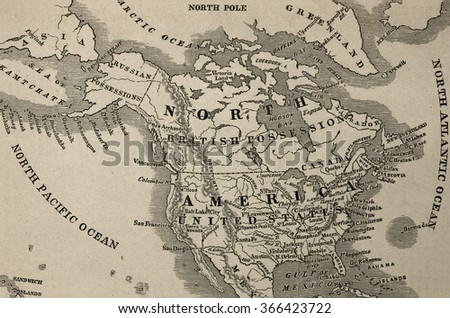 RENO, NEVADA - JANUARY 21, 2016: Historic 1866 Map of American, British and Russian possessions in North America shortly before the Alaska purchase from Russia by the U.S.