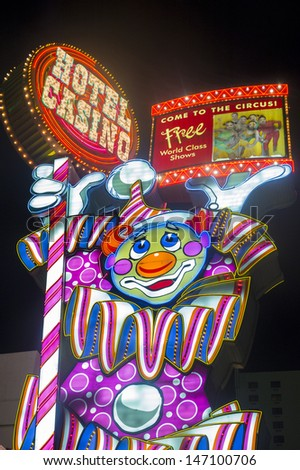 RENO ,NEVADA - JUNE 27 : The Circus Circus Hotel and Casino in Reno , Nevada in June 27 2013 ,   The hotel was opened in 1978 and it features live circus acts. - stock photo