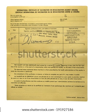 RENO, NEVADA- MAY 5, 2014:  An international certificate of vaccination against Cholera listing the requirements for the vaccination and the length of time the certificate is valid. - stock photo