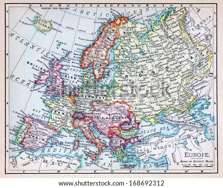 RENO, NEVADA OCTOBER 02, 2011:  A 19th century map of Europe showing historic old world countries and national borders towards the end of the 19th century.