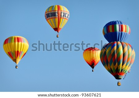 RENO, NEVADA USA - SEPTEMBER 11: The Great Reno Balloon Race on September 11 2010, in Reno Nevada. It is the largest free hot air ballooning event in the nation. - stock photo