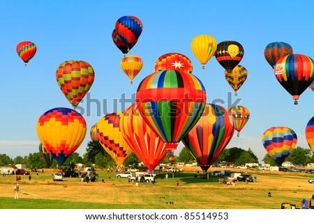 RENO, NV - SEPT. 9: Rancho San Rafael regional park during Great Reno Balloon Race on September 9, 2011 in Reno, Nevada - stock photo