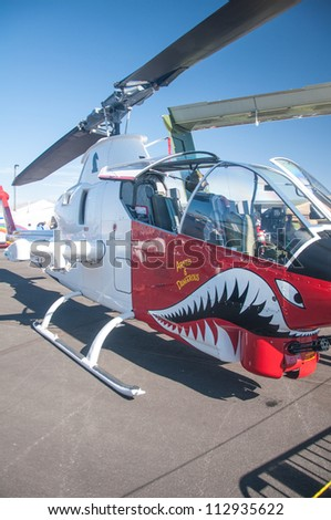 RENO, NV - SEPTEMBER 15, 2012:    helicopters on display  during the annual Air Races on September 15, 2012 in Reno, Nevada - stock photo