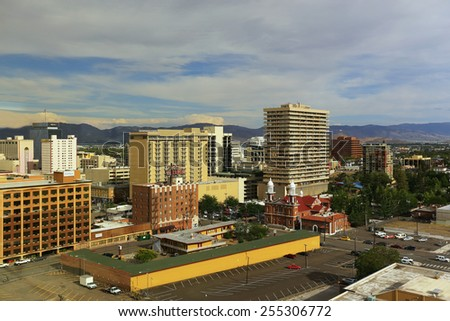 RENO, USA - AUGUST 12: Aerial view of apartment buildings on August 12, 2014 in Reno, USA.  Reno is the most populous Nevada city outside of the Las Vegas. - stock photo