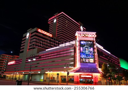 RENO, USA - AUGUST 12: Eldorado hotel and casino at night on August 12, 2014 in Reno, USA.  Reno is the most populous Nevada city outside of the Las Vegas. - stock photo