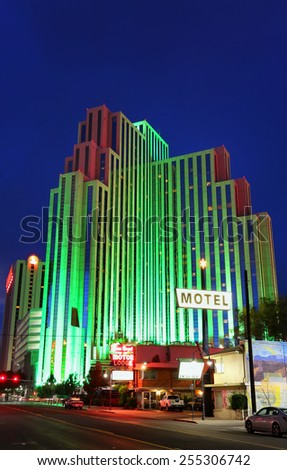RENO, USA - AUGUST 12: Silver Legacy resort and casino at night on August 12, 2014 in Reno, USA.  Reno is the most populous Nevada city outside of the Las Vegas. - stock photo