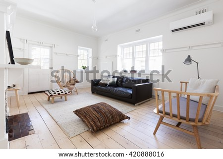 Renovated old and spacious apartment with beautiful Scandi contemporary styling - stock photo
