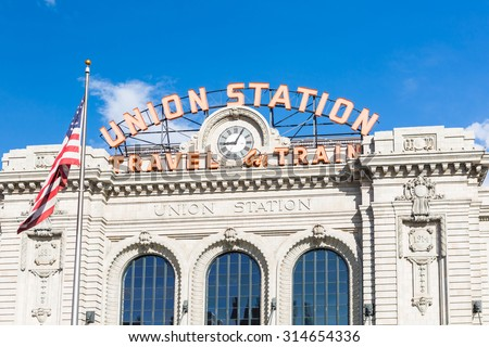 Renovated Union Station in Downtown Denver, Colorado. - stock photo