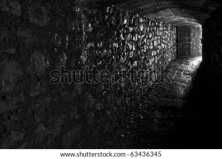 Renovated WWI Italian army tunnel - stock photo
