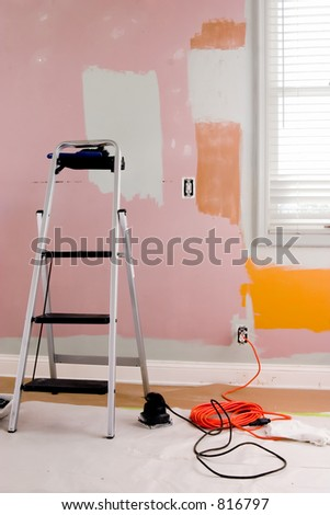 Renovating the guest bedroom - stock photo