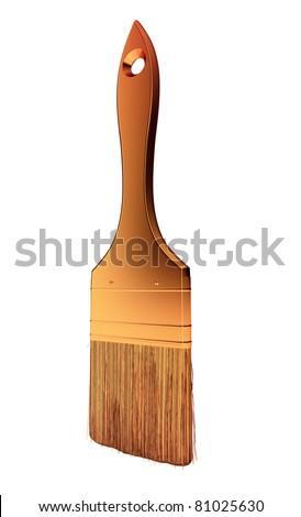 Renovation: golden paintbrush isolated over white background - stock photo