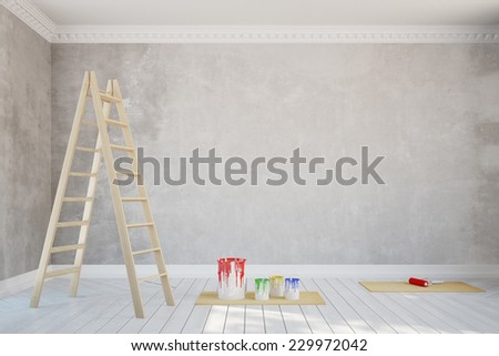 Renovation of a wall in empty old room with stucco (3D Rendering) - stock photo