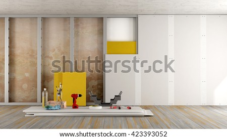Renovation of an old house with plaster board and insulation material - 3d rendering - stock photo