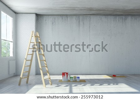 Renovation of office space in a loft with ladder and paint cans (3D Rendering) - stock photo