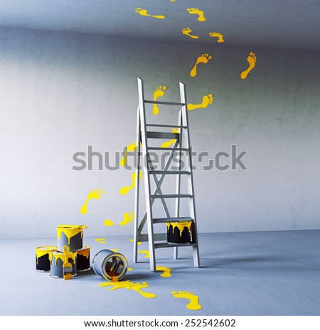 renovation painting in the white room. 3d concept - stock photo