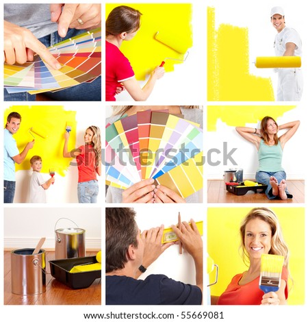 Renovation set. People working at home - stock photo