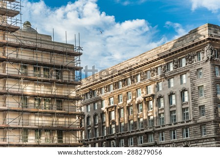 Renovation to one of the buldings at Pier Head, Liverpool. - stock photo