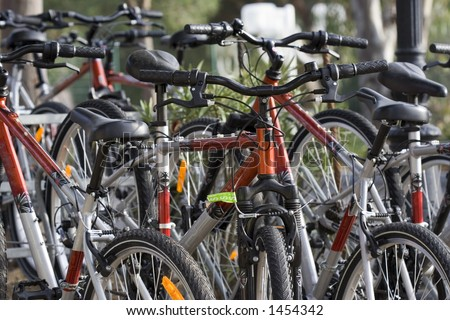 rent a bike - recreation and fitness - stock photo