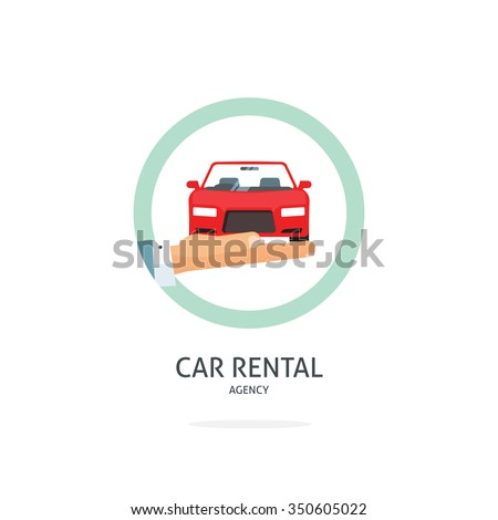 Rent a car agency logo template, hand holding auto symbol, icon flat ribbon, rental badge sticker, automobile dealer sale label concept, modern illustration design, sign isolated on white tag image - stock photo