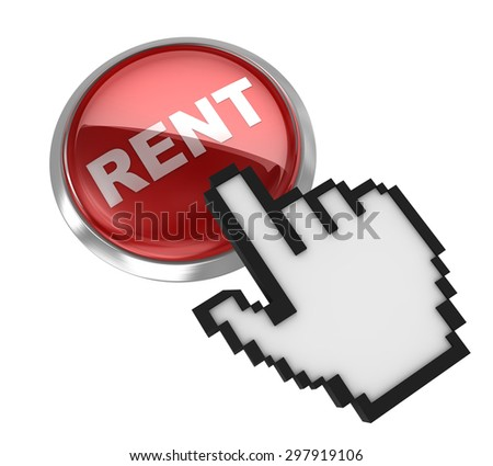 Rent button , This is a computer generated and 3d rendered picture. - stock photo