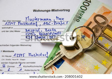 Rental agreement for an apartment with Euros and set of keys - stock photo