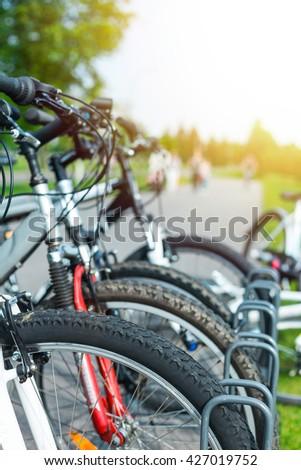 Rental city bike station in Kiev, Ukraine - stock photo
