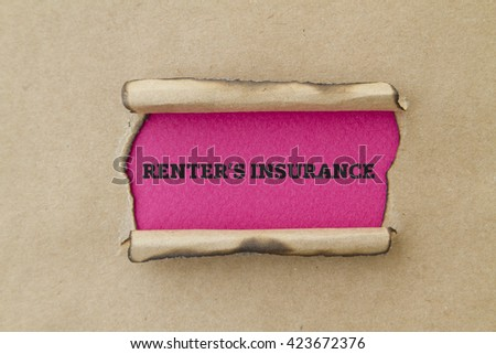 RENTER'S INSURANCE written under torn paper. - stock photo