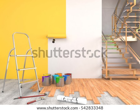 Repair Painting Walls Room 3 D Illustration Stock Illustration ...