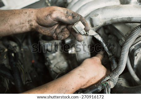 repair car , master engine parses - stock photo