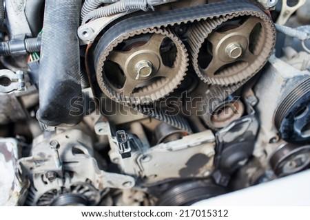 repair car of timing belt - stock photo