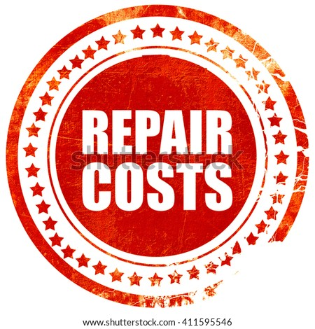 repair costs, red grunge stamp on solid background - stock photo
