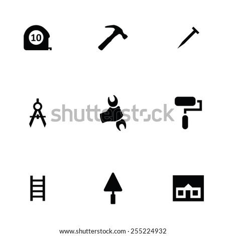 repair 9 icons set, isolated, black on white background - stock photo
