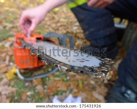 Repair of chainsaw in the garden