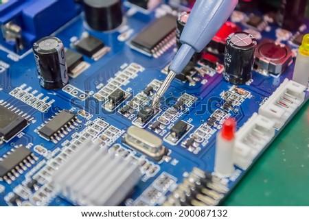 Repair of computers and electronic metering parameters - stock photo