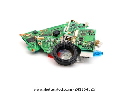 Repair Parts of digital Single lens reflex camera On White backgrounds - stock photo