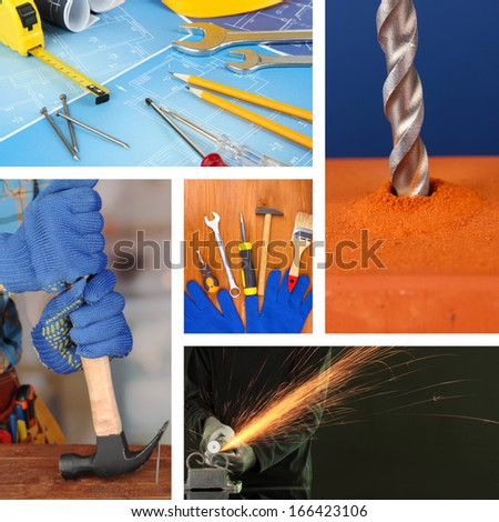 Repair project collage - stock photo